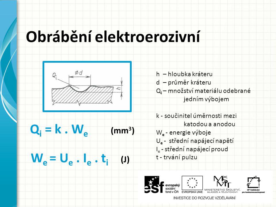 Obrábění elektroerozivní k - součinitel úměrnosti mezi katodou a anodou W e - energie výboje U e - střední napájecí napětí I e - střední napájecí prou
