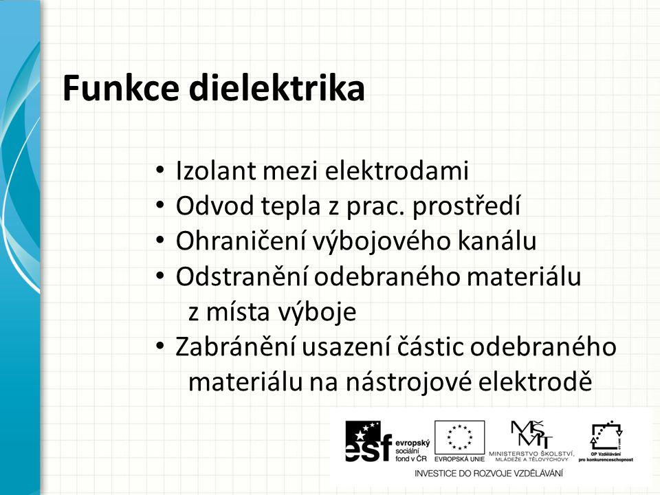 Funkce dielektrika Izolant mezi elektrodami Odvod tepla z prac. prostředí Ohraničení výbojového kanálu Odstranění odebraného materiálu z místa výboje