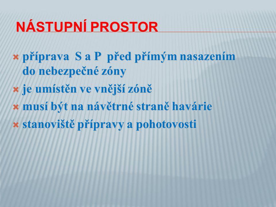 NÁSTUPNÍ PROSTOR NÁSTUPNÍ PROSTOR  příprava S a P před přímým nasazením do nebezpečné zóny  je umístěn ve vnější zóně  musí být na návětrné straně