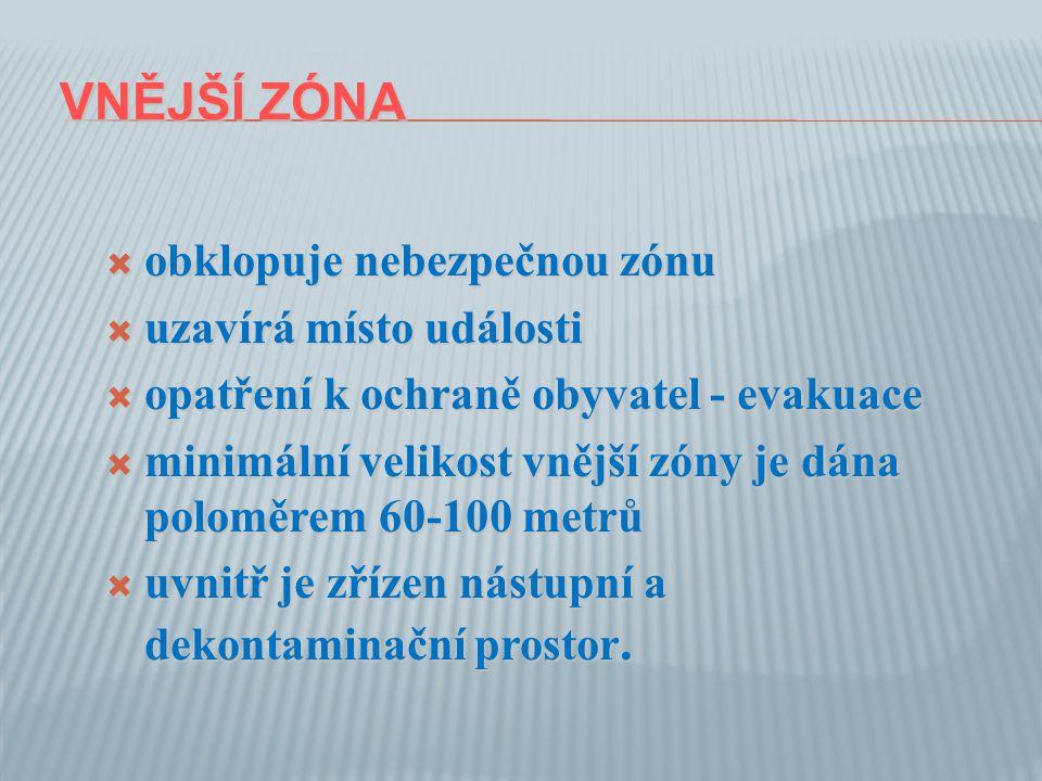 VNĚJŠÍ ZÓNA VNĚJŠÍ ZÓNA  obklopuje nebezpečnou zónu  uzavírá místo události  opatření k ochraně obyvatel - evakuace  minimální velikost vnější zóny je dána poloměrem 60-100 metrů  uvnitř je zřízen nástupní a dekontaminační prostor.