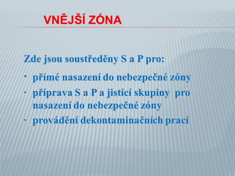 VNĚJŠÍ ZÓNA VNĚJŠÍ ZÓNA Zde jsou soustředěny S a P pro: · přímé nasazení do nebezpečné zóny ·příprava S a P a jistící skupiny pro nasazení do nebezpečné zóny ·provádění dekontaminačních prací