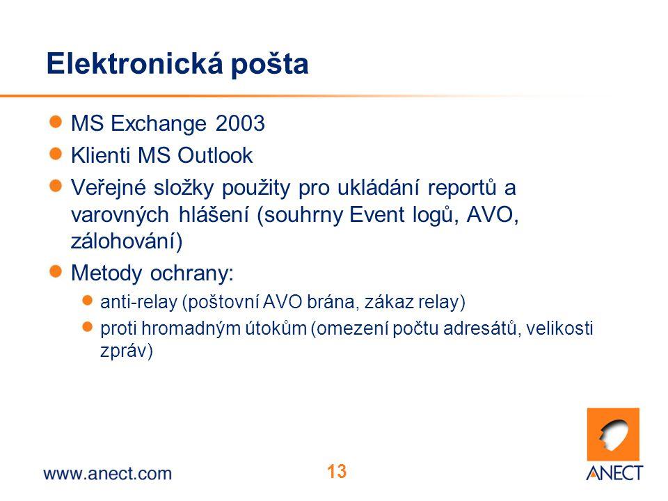 13 Elektronická pošta MS Exchange 2003 Klienti MS Outlook Veřejné složky použity pro ukládání reportů a varovných hlášení (souhrny Event logů, AVO, zálohování) Metody ochrany: anti-relay (poštovní AVO brána, zákaz relay) proti hromadným útokům (omezení počtu adresátů, velikosti zpráv)