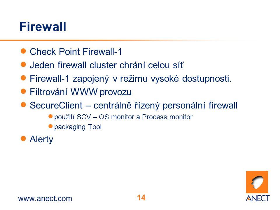 14 Firewall Check Point Firewall-1 Jeden firewall cluster chrání celou síť Firewall-1 zapojený v režimu vysoké dostupnosti.