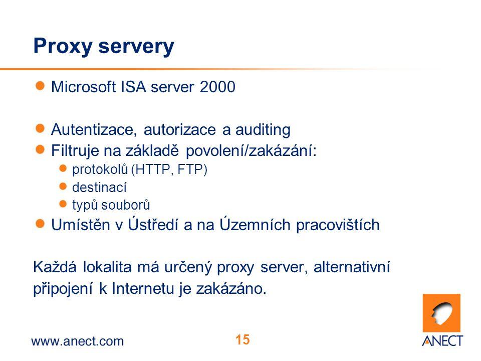 15 Proxy servery Microsoft ISA server 2000 Autentizace, autorizace a auditing Filtruje na základě povolení/zakázání: protokolů (HTTP, FTP) destinací typů souborů Umístěn v Ústředí a na Územních pracovištích Každá lokalita má určený proxy server, alternativní připojení k Internetu je zakázáno.