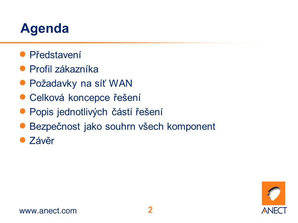 2 Agenda Představení Profil zákazníka Požadavky na síť WAN Celková koncepce řešení Popis jednotlivých částí řešení Bezpečnost jako souhrn všech komponent Závěr