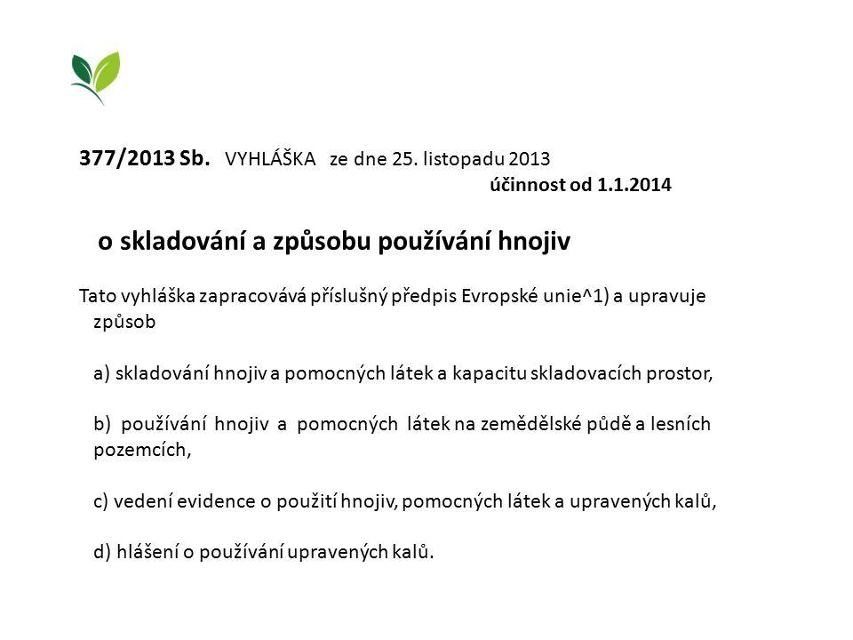 377/2013 Sb. VYHLÁŠKA ze dne 25. listopadu 2013 účinnost od 1.1.2014 o skladování a způsobu používání hnojiv Tato vyhláška zapracovává příslušný předp