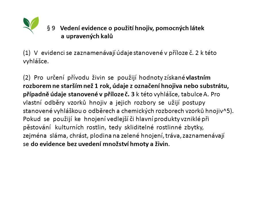 § 9 Vedení evidence o použití hnojiv, pomocných látek a upravených kalů (1) V evidenci se zaznamenávají údaje stanovené v příloze č.