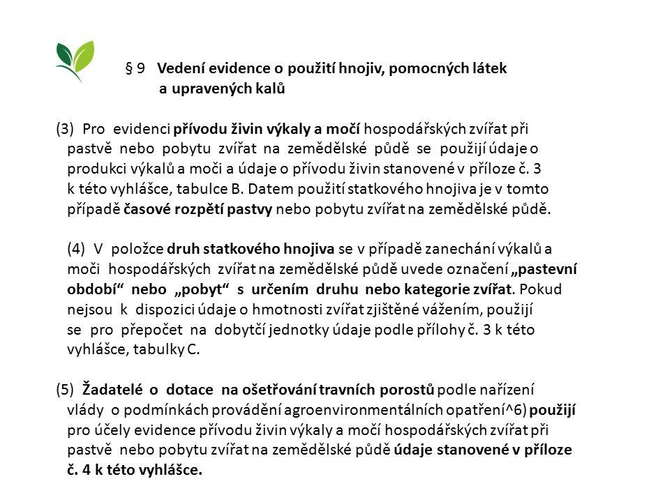 § 9 Vedení evidence o použití hnojiv, pomocných látek a upravených kalů (3) Pro evidenci přívodu živin výkaly a močí hospodářských zvířat při pastvě nebo pobytu zvířat na zemědělské půdě se použijí údaje o produkci výkalů a moči a údaje o přívodu živin stanovené v příloze č.