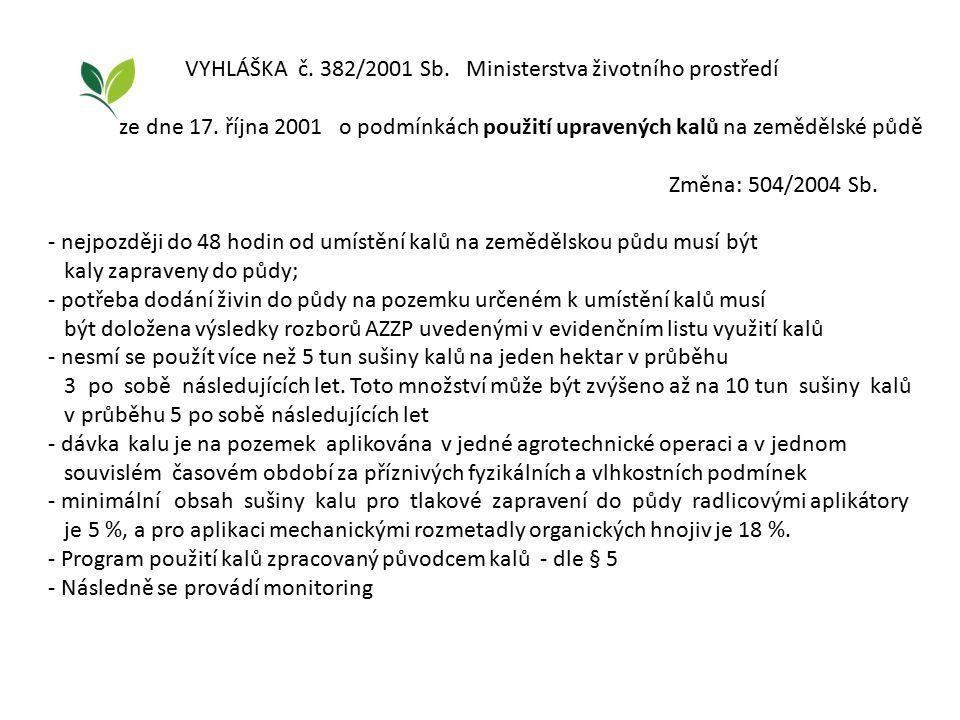 VYHLÁŠKA č. 382/2001 Sb. Ministerstva životního prostředí ze dne 17. října 2001 o podmínkách použití upravených kalů na zemědělské půdě Změna: 504/200