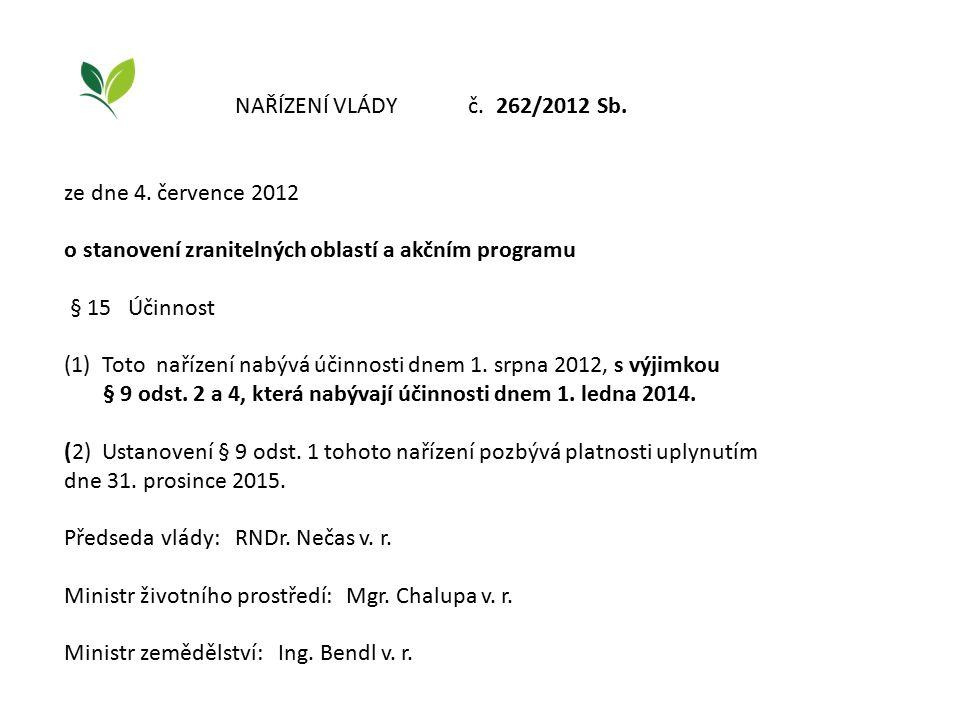NAŘÍZENÍ VLÁDY č. 262/2012 Sb. ze dne 4. července 2012 o stanovení zranitelných oblastí a akčním programu § 15 Účinnost (1) Toto nařízení nabývá účinn