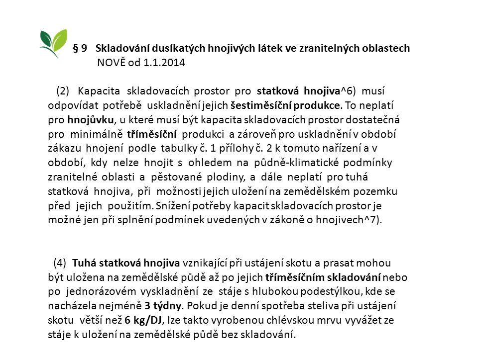 § 9 Skladování dusíkatých hnojivých látek ve zranitelných oblastech NOVĚ od 1.1.2014 (2) Kapacita skladovacích prostor pro statková hnojiva^6) musí odpovídat potřebě uskladnění jejich šestiměsíční produkce.