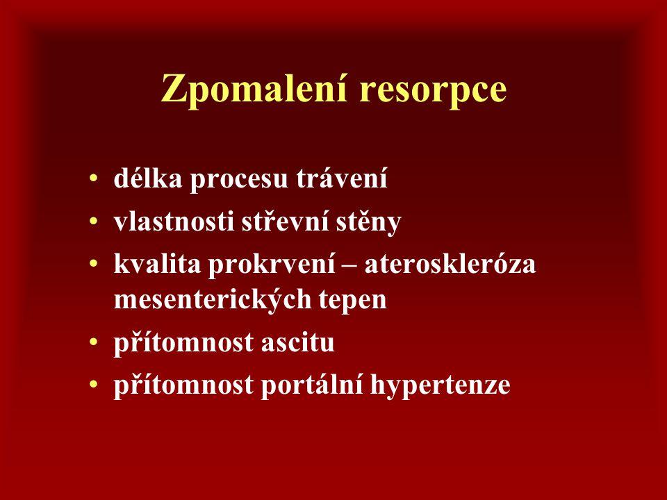 Malabsorpční stavy postupný rozvoj deficitů  hypoproteinémie, hypalbuminémie  hypovitaminózy  hypochromie  hypokalcémie  hypomagnézémie  hypoglykémie
