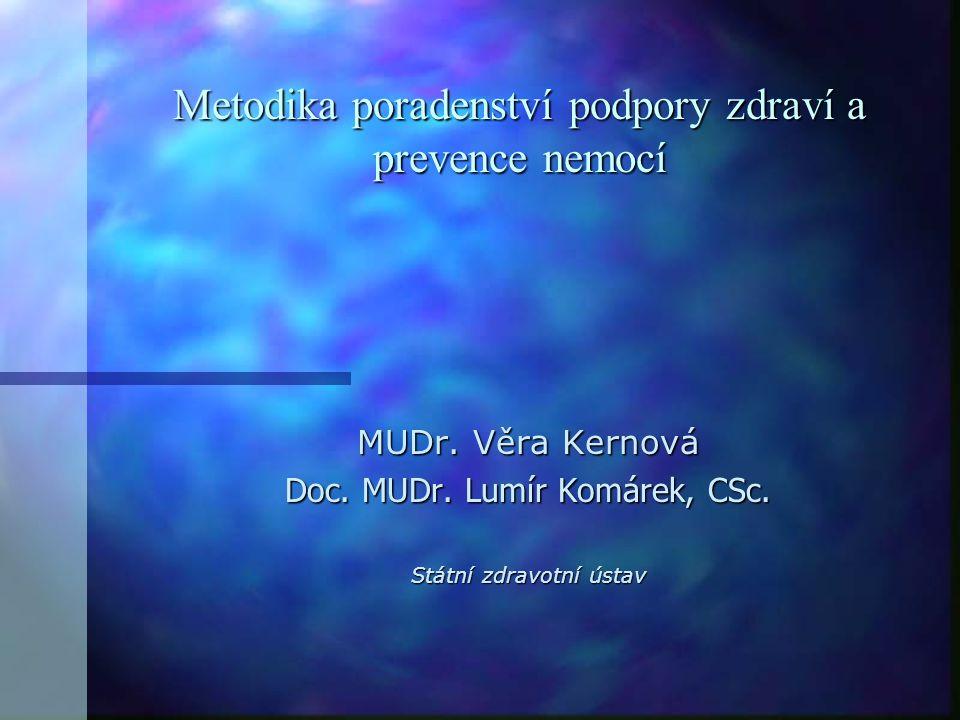 Metodika poradenství podpory zdraví a prevence nemocí MUDr. Věra Kernová Doc. MUDr. Lumír Komárek, CSc. Státní zdravotní ústav