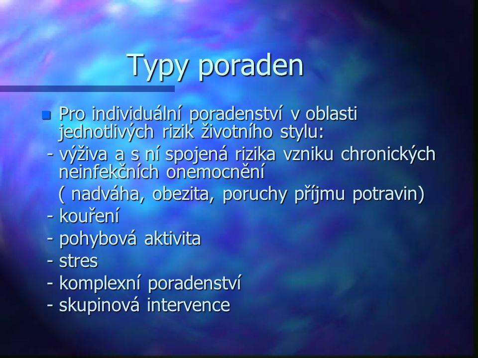 Typy poraden n Pro individuální poradenství v oblasti jednotlivých rizik životního stylu: - výživa a s ní spojená rizika vzniku chronických neinfekční