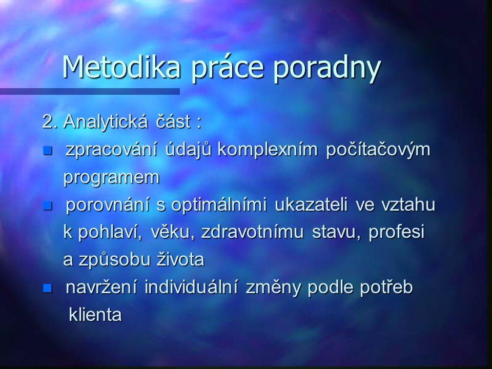 Metodika práce poradny 2. Analytická část : zpracování údajů komplexním počítačovým zpracování údajů komplexním počítačovým programem programem n poro