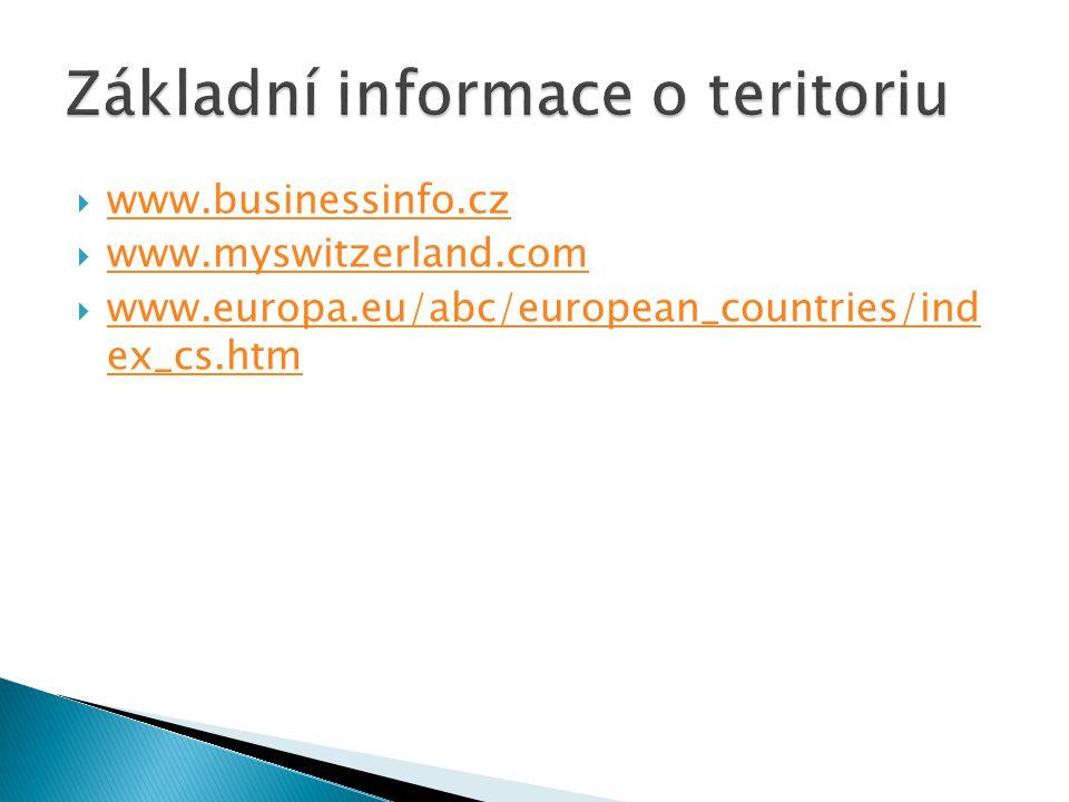  www.admin.ch – informace o činnosti institucí státní správy www.admin.ch  www.seco.admin.ch – informace o hospodářské situaci Švýcarska, pohybu zboží a o celních sazbách www.seco.admin.ch  www.hst.cz - informace pro a o firmách působících v 'CR, které jsou švýcarského původu www.hst.cz  www.bfm.admin.ch - informace o podmínkách výkonu práce ve Švýcarsku, povinná hlášení o pracovním pobytu zahraničních pracovníků www.bfm.admin.ch