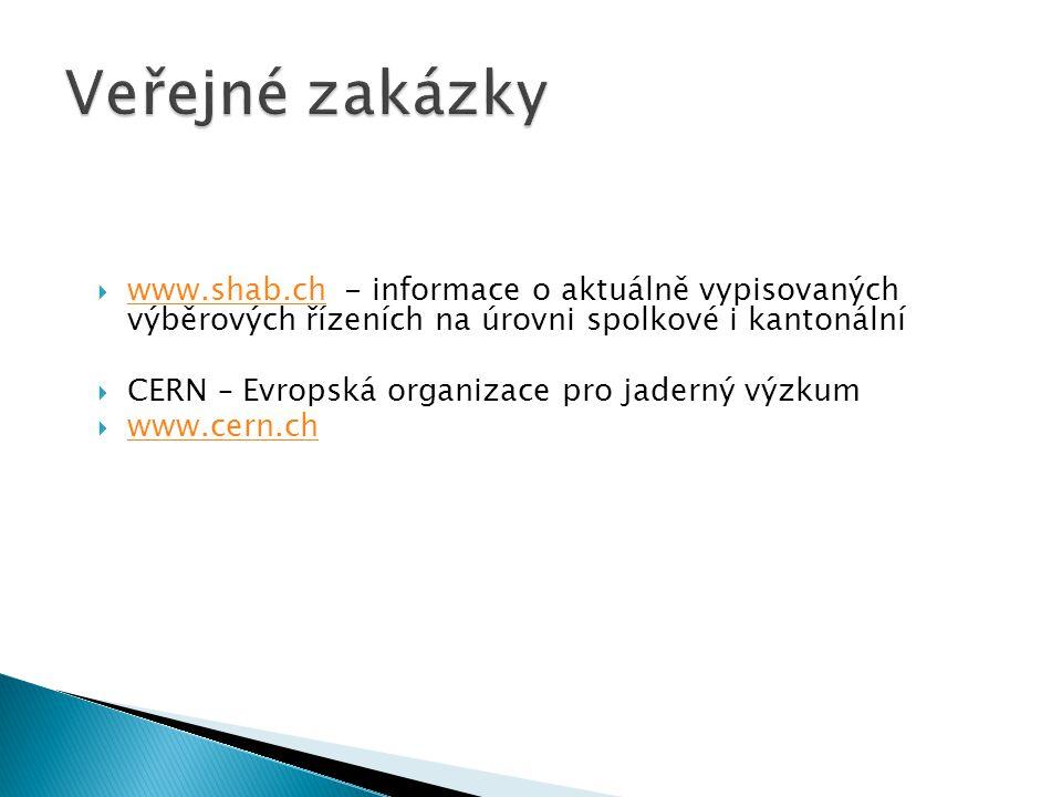  www.shab.ch - informace o aktuálně vypisovaných výběrových řízeních na úrovni spolkové i kantonální www.shab.ch  CERN – Evropská organizace pro jad