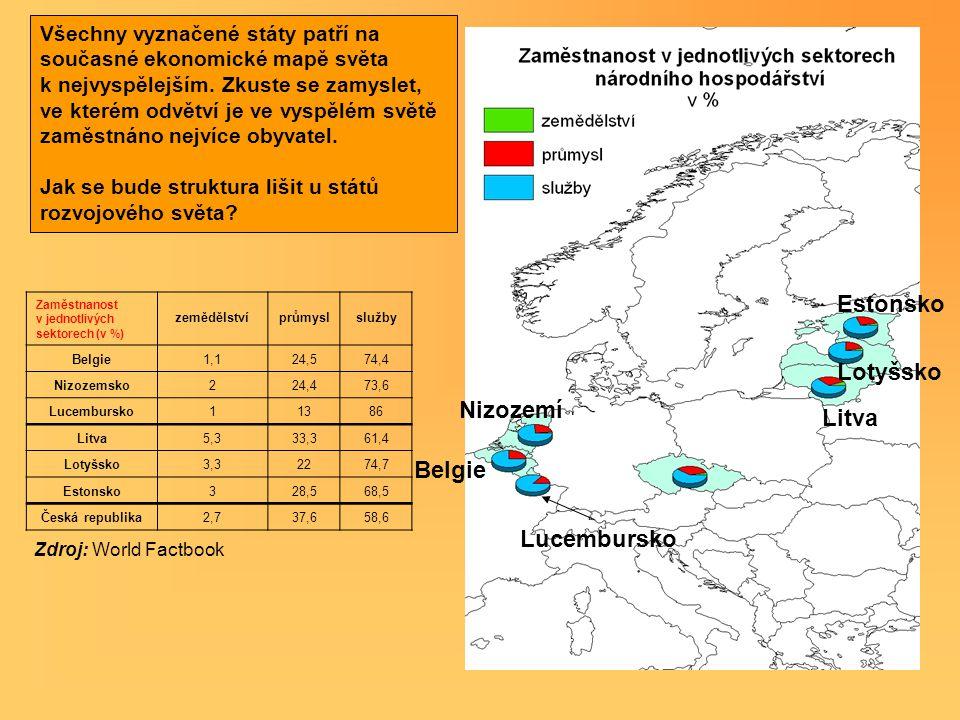 Litva Lotyšsko Estonsko Nizozemí Belgie Lucembursko Všechny vyznačené státy patří na současné ekonomické mapě světa k nejvyspělejším. Zkuste se zamysl