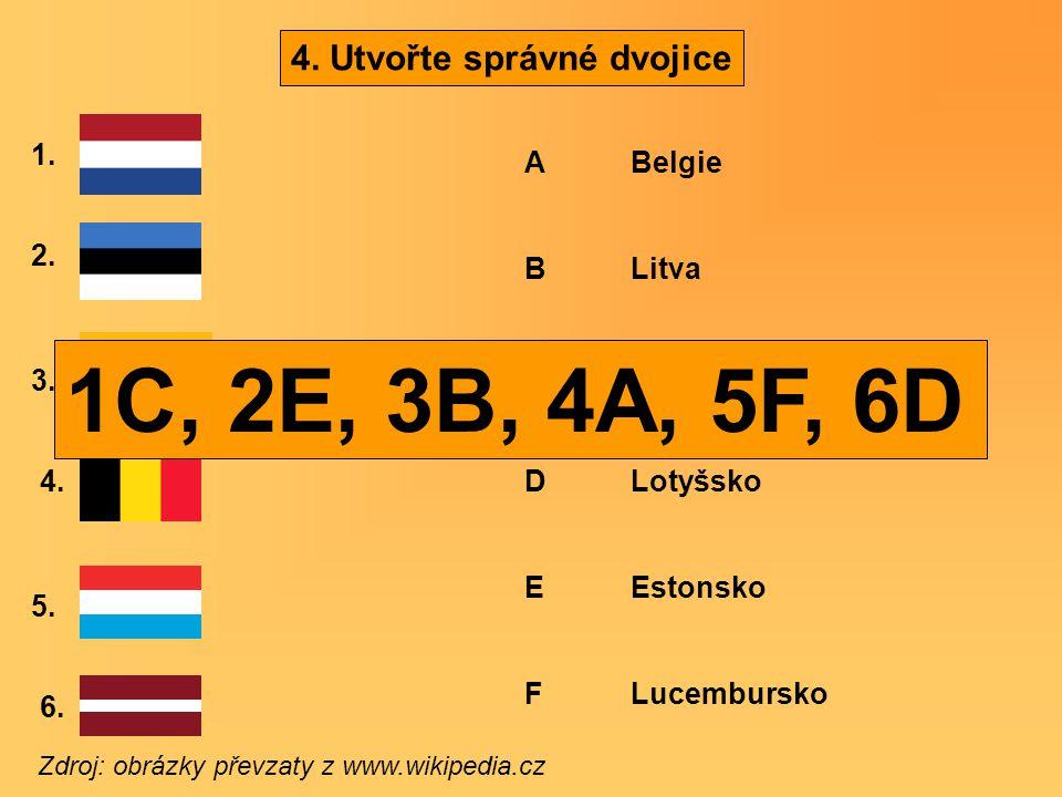 4. Utvořte správné dvojice Zdroj: obrázky převzaty z www.wikipedia.cz 1. 2. 3. 4. 5. 6. A Belgie B Litva C Nizozemsko D Lotyšsko E Estonsko F Lucembur