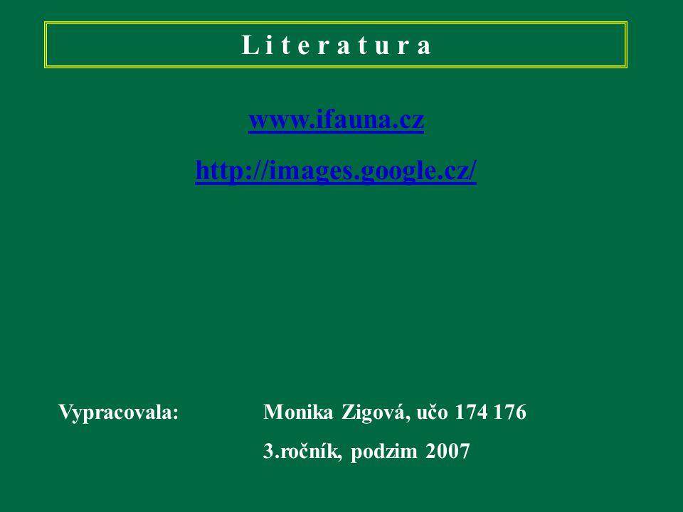 L i t e r a t u r a www.ifauna.cz http://images.google.cz/ Vypracovala: Monika Zigová, učo 174 176 3.ročník, podzim 2007