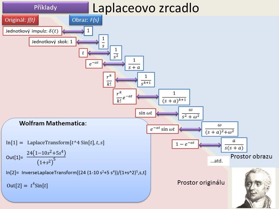 Laplaceovo zrcadlo Prostor obrazu Prostor originálu Originál: f(t) Obraz: F(s) Příklady 1 …atd. Wolfram Mathematica: