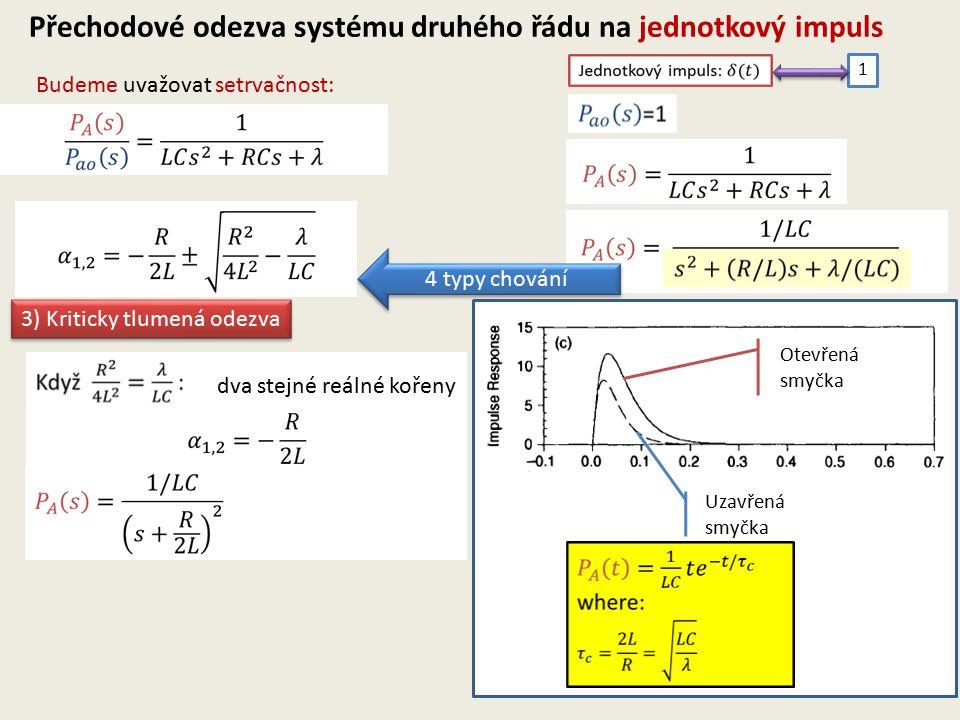 Budeme uvažovat setrvačnost: Přechodové odezva systému druhého řádu na jednotkový impuls 1 4 typy chování 3) Kriticky tlumená odezva dva stejné reálné kořeny Otevřená smyčka Uzavřená smyčka