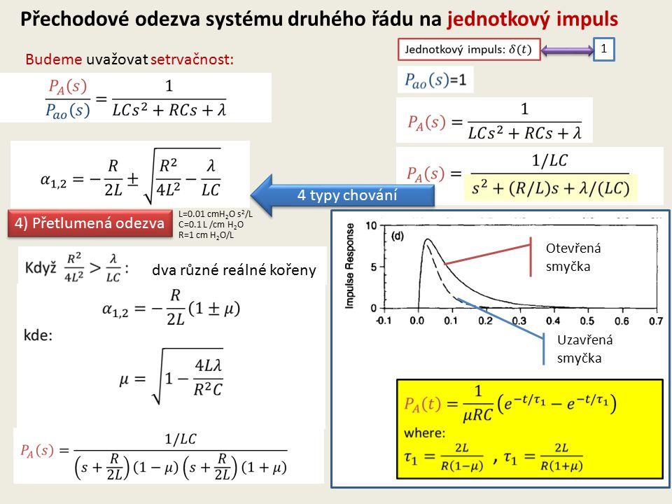 Budeme uvažovat setrvačnost: Přechodové odezva systému druhého řádu na jednotkový impuls 1 4 typy chování 4) Přetlumená odezva dva různé reálné kořeny Otevřená smyčka Uzavřená smyčka L=0.01 cmH 2 O s 2 /L C=0.1 L /cm H 2 O R=1 cm H 2 O/L