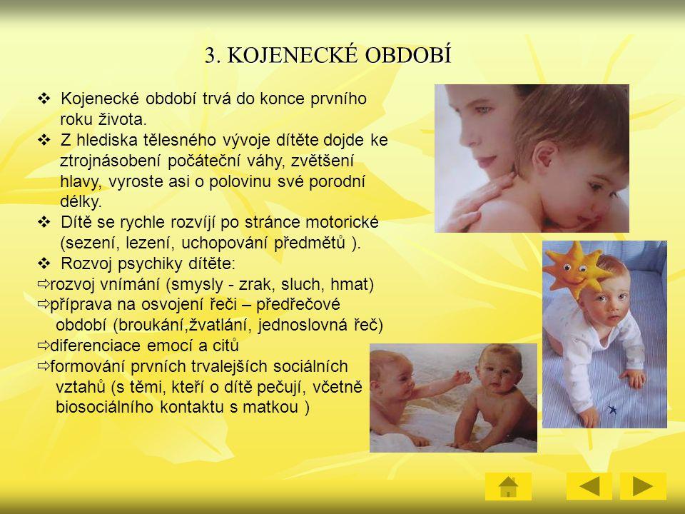 3.KOJENECKÉ OBDOBÍ  Kojenecké období trvá do konce prvního roku života.