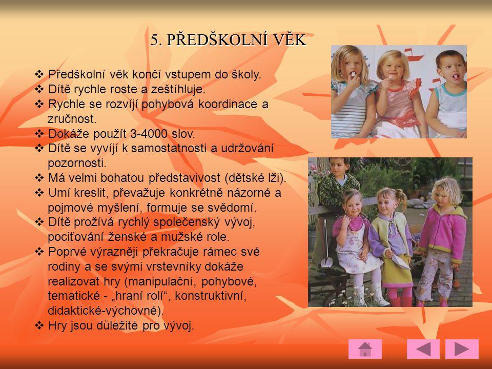 5.PŘEDŠKOLNÍ VĚK  Předškolní věk končí vstupem do školy.