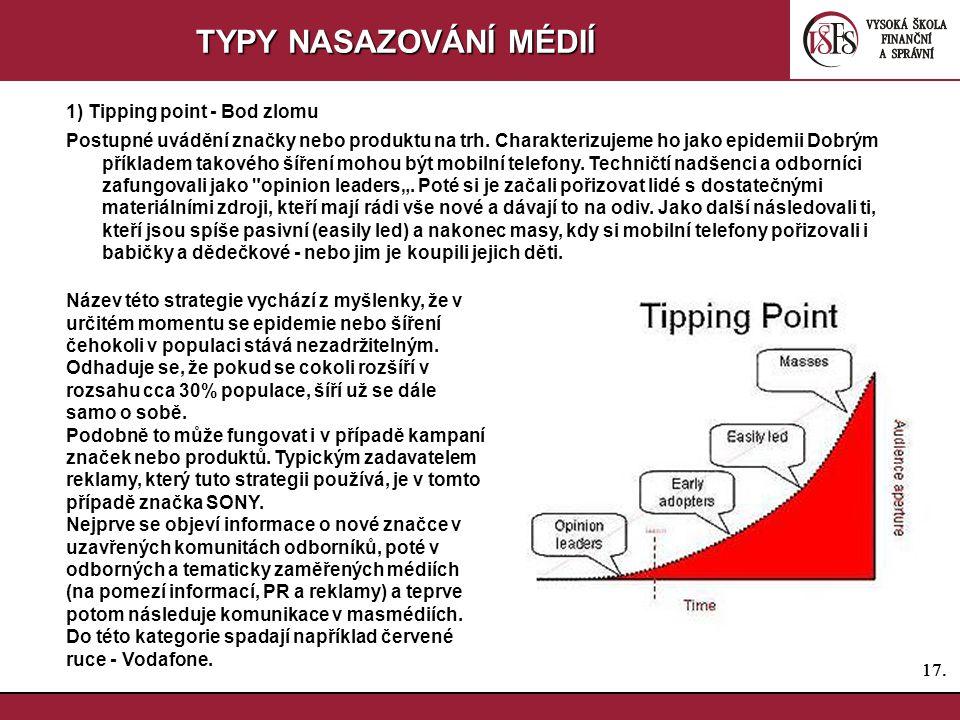 17. TYPY NASAZOVÁNÍ MÉDIÍ 1) Tipping point - Bod zlomu Postupné uvádění značky nebo produktu na trh. Charakterizujeme ho jako epidemii Dobrým příklade