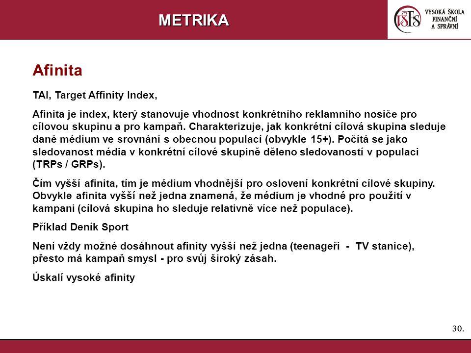 30. METRIKA Afinita TAI, Target Affinity Index, Afinita je index, který stanovuje vhodnost konkrétního reklamního nosiče pro cílovou skupinu a pro kam