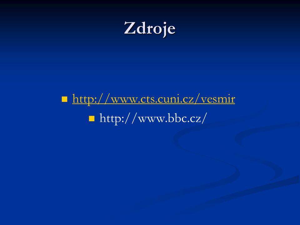 Zdroje http://www.cts.cuni.cz/vesmir http://www.bbc.cz/