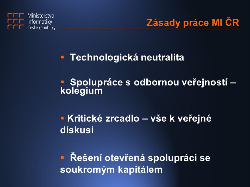 Zásady práce MI ČR  Technologická neutralita  Spolupráce s odbornou veřejností – kolegium  Kritické zrcadlo – vše k veřejné diskusi  Řešení otevřená spolupráci se soukromým kapitálem