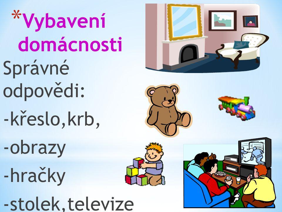 * Vybavení domácnosti Správné odpovědi: -křeslo,krb, -obrazy -hračky -stolek,televize
