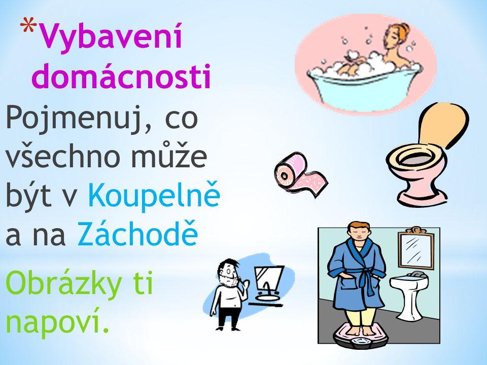 * Vybavení domácnosti Pojmenuj, co všechno může být v Koupelně a na Záchodě Obrázky ti napoví.