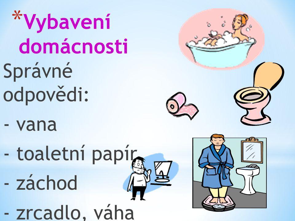 * Vybavení domácnosti Správné odpovědi: - vana - toaletní papír - záchod - zrcadlo, váha