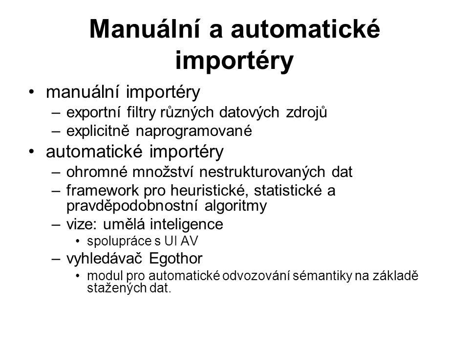 Manuální a automatické importéry manuální importéry –exportní filtry různých datových zdrojů –explicitně naprogramované automatické importéry –ohromné množství nestrukturovaných dat –framework pro heuristické, statistické a pravděpodobnostní algoritmy –vize: umělá inteligence spolupráce s UI AV –vyhledávač Egothor modul pro automatické odvozování sémantiky na základě stažených dat.