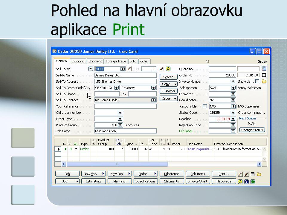 Pohled na hlavní obrazovku aplikace Print