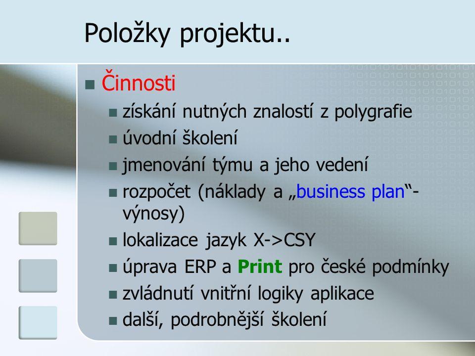 """Položky projektu.. Činnosti získání nutných znalostí z polygrafie úvodní školení jmenování týmu a jeho vedení rozpočet (náklady a """"business plan""""- výn"""