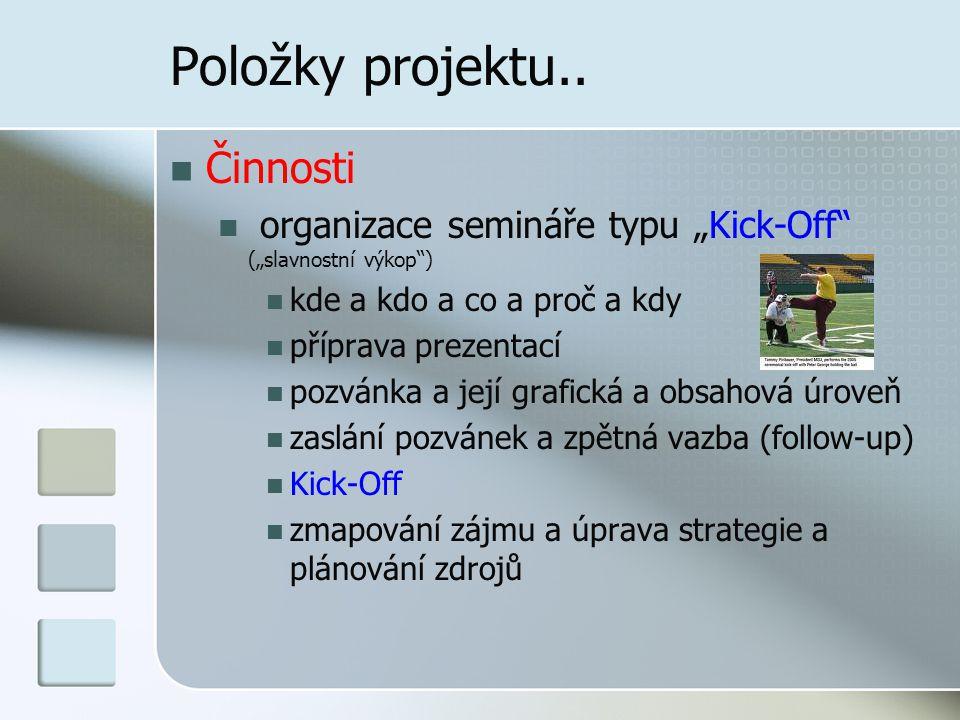 """Položky projektu.. Činnosti organizace semináře typu """"Kick-Off"""" (""""slavnostní výkop"""") kde a kdo a co a proč a kdy příprava prezentací pozvánka a její g"""