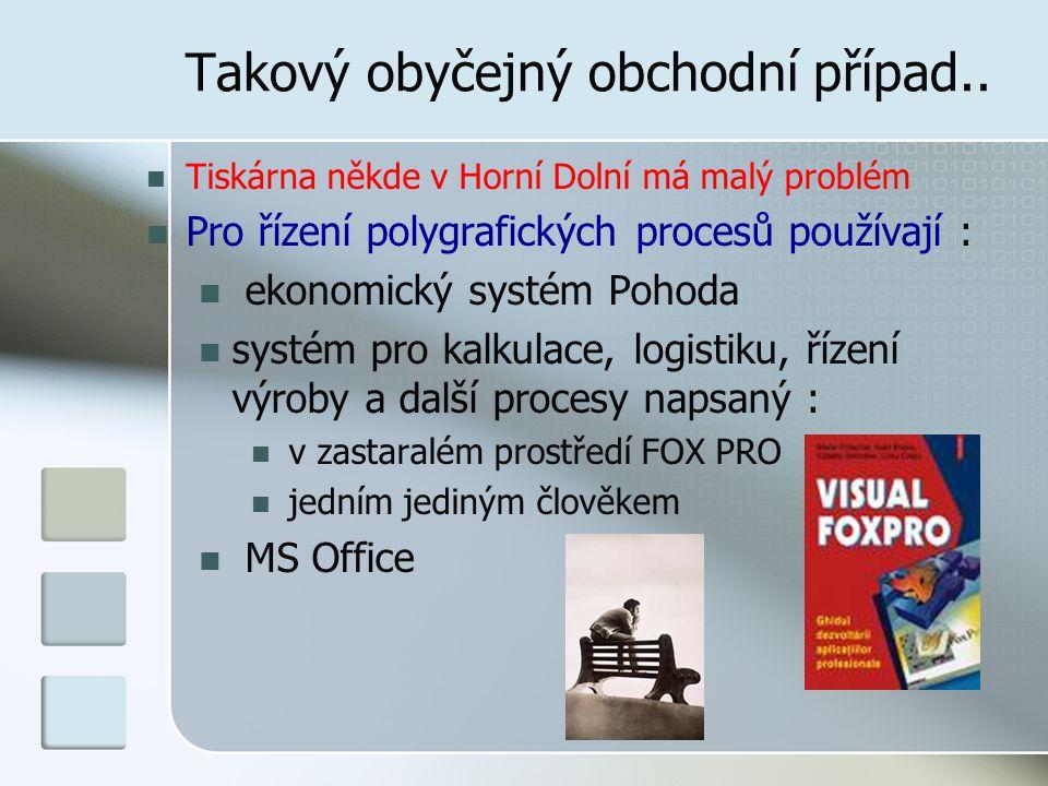 Takový obyčejný obchodní případ.. Tiskárna někde v Horní Dolní má malý problém Pro řízení polygrafických procesů používají : ekonomický systém Pohoda