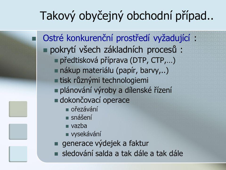 Takový obyčejný obchodní případ.. Ostré konkurenční prostředí vyžadující : pokrytí všech základních procesů : předtisková příprava (DTP, CTP,…) nákup