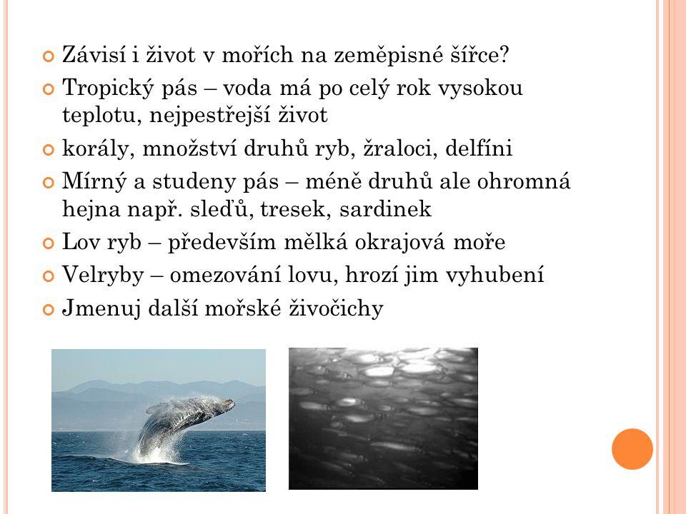 Závisí i život v mořích na zeměpisné šířce.