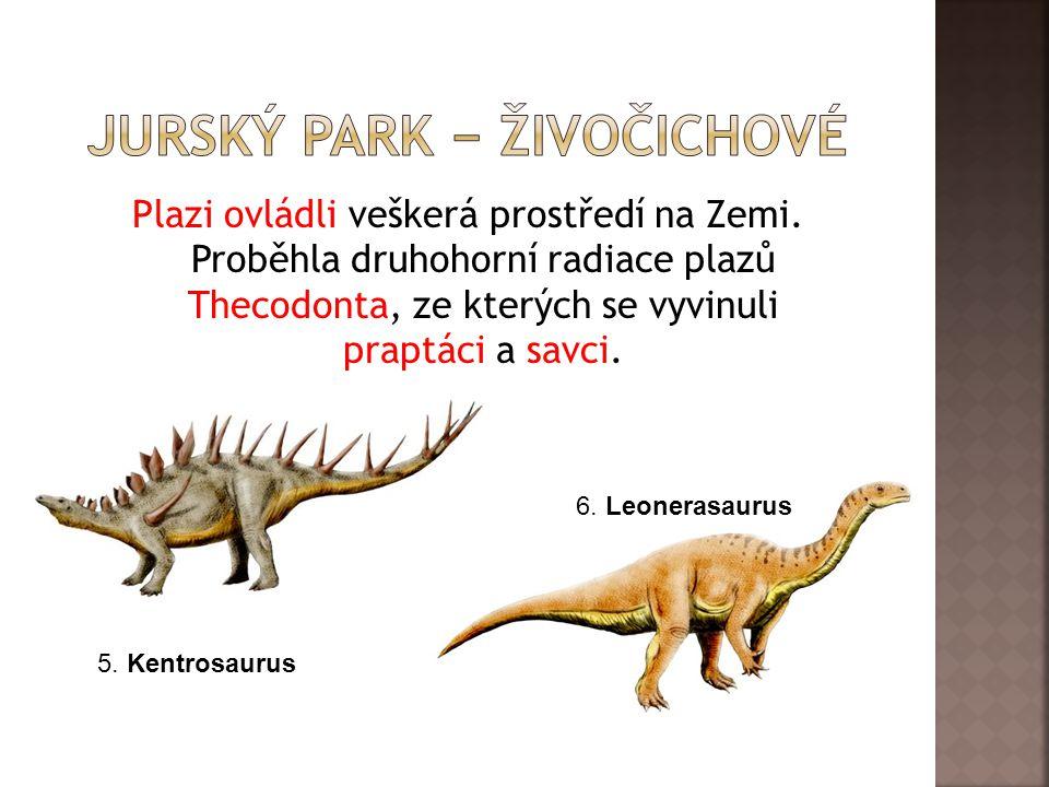 Plazi ovládli veškerá prostředí na Zemi. Proběhla druhohorní radiace plazů Thecodonta, ze kterých se vyvinuli praptáci a savci. 6. Leonerasaurus 5. Ke