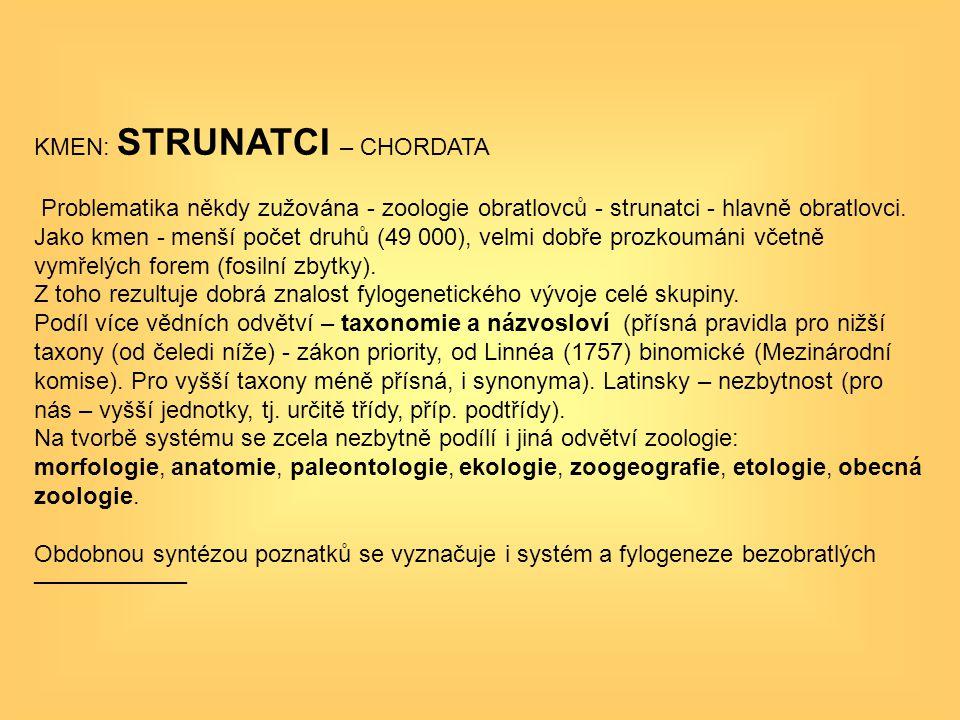 KMEN: STRUNATCI – CHORDATA Problematika někdy zužována - zoologie obratlovců - strunatci - hlavně obratlovci. Jako kmen - menší počet druhů (49 000),