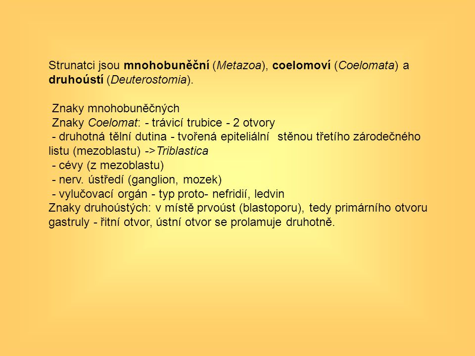 Strunatci jsou mnohobuněční (Metazoa), coelomoví (Coelomata) a druhoústí (Deuterostomia). Znaky mnohobuněčných Znaky Coelomat: - trávicí trubice - 2 o