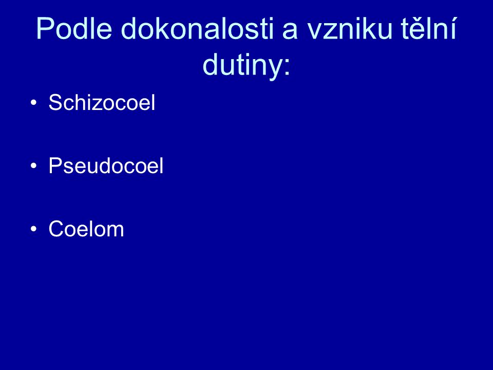 Podle dokonalosti a vzniku tělní dutiny: Schizocoel Pseudocoel Coelom