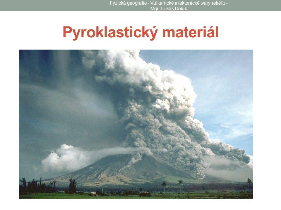 Druhy vulkanického materiálu Tefra: částice dopadající na zemský povrch Tufy: zpevněná vulkanoklastika Tufity: nezpevněná vulkanoklastika Ignimbrity: spečený sop.