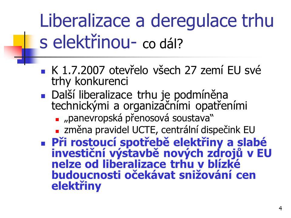 4 Liberalizace a deregulace trhu s elektřinou- co dál? K 1.7.2007 otevřelo všech 27 zemí EU své trhy konkurenci Další liberalizace trhu je podmíněna t