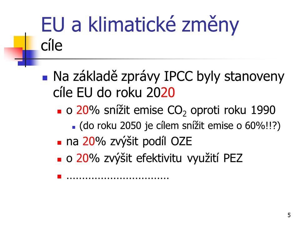 5 EU a klimatické změny cíle Na základě zprávy IPCC byly stanoveny cíle EU do roku 2020 o 20% snížit emise CO 2 oproti roku 1990 (do roku 2050 je cíle